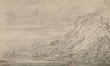 Attribué à Cornelis Symonsz. van der Schalcke Haarlem, 1617 - 1671 Paysage de lac en montagne Crayon noir et lavis gris,