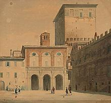 Eugène-Paul Lacroix Paris, 1814 - 1873 Vue du Palazzo Venezia à Rome Aquarelle sur trait de crayon,