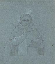 Charles Damour Paris, 1813 - 1860 Etudes de saints d'après les maîtres Trois dessins à la mine de plomb et rehauts de blanc sur papi..