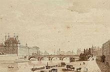 Laurent Guyot Paris, 1756 - 1806 Le Pont Royal et La Chambre des députés à Paris Deux dessins à la plume et encre brune, lavis brun...