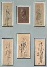 François-Joseph Heim Belfort, 1787 - Paris, 1865 Etudes de personnages, dont le roi Charles X Six dessins dans un même montage, quat...