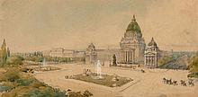 Ecole allemande de la fin du XIXe siècle  Projet présumé pour le Reichstag de Berlin vers 1880 Aquarelle gouachée