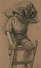 Charles Walhain Paris, 1877 - 1936 Docker transportant un sac Crayon noir, sanguine et rehauts de blanc,