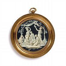 Jacques-Joseph De Gault (?), 1738 - après 1812 Allégorie de l'Automne : Nymphes et putti récoltant du raisin Miniature en grisaille...