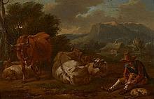 Attribué à Johannes van der Bent Amsterdam, 1650 - 1690 Vacher et son troupeau dans un paysage d'Italie Huile sur panneau préparé, u..