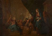 Ecole française du XVIIIe siècle D'après Charles de La Fosse Le Christ parmi les docteurs Huile sur toile