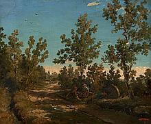 Alexandre-René Véron Montbazon, 1826 - Paris, 1897 Personnages se reposant en bordure d'un chemin Huile sur papier marouflé sur toil..