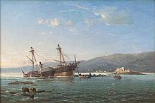 Ecole de la seconde partie du XIXe siècle (A. Costa) Le naufrage d'un bateau à vapeur au large d'une côte Huile sur toile (Toile d'o