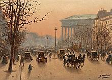 Gaspar Miro i Lleo Vilanova i la Geltru, 1859 - Paris, 1930 Vue du boulevard de la Madeleine, Paris Huile sur panneau