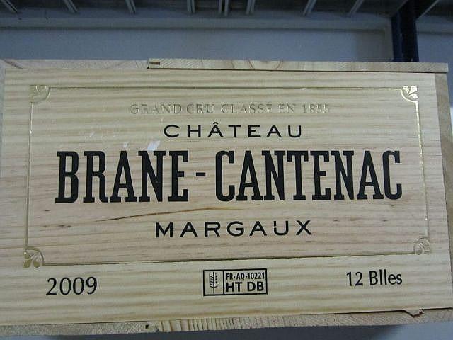 12 bouteilles CHÂTEAU BRANE CANTENAC 2009 2è GC Margaux Caisse bois d'origine