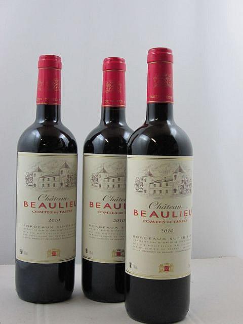 12 bouteilles CHÂTEAU BEAULIEU COMTES DE TASTES 2010 Bordeaux