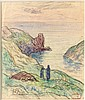 Henry MORET (Cherbourg, 1856 - Paris, 1913) RAMASSEUSES DE GOEMON A KERGALAT, 1907 Aquarelle et fusain sur papier