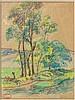 Henry MORET (Cherbourg, 1856 - Paris, 1913) ENVIRONS DE GOULIEN PRES D'AUDIERNE Aquarelle et fusain sur papier