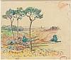 Henry MORET (Cherbourg, 1856 - Paris, 1913) PINS PARASOLS PRES DE LA BAIE DE DOUARNENEZ Aquarelle et fusain sur papier