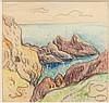 Henry MORET (Cherbourg, 1856 - Paris, 1913) LA CÔTE DE CROIX, 1895 Aquarelle et fusain sur papier