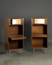 George NELSON (1908 - 1986) Rare paire de chevets - circa 1950 Structure en bois et placage de bois, piètement en métal, lampe de ch...