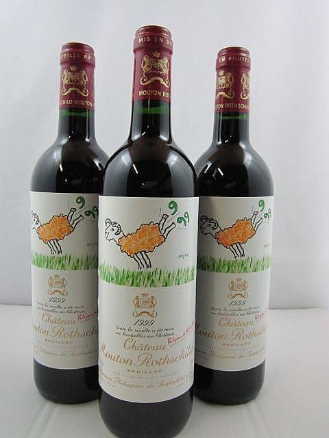 6 bouteilles CHÂTEAU MOUTON ROTHSCHILD 1999 1er GC Pauillac