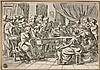 Ecole française du XVIIIe siècle  Un concert Plume et encre grise, lavis gris