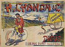 Charles TICHON (Illustrateur) et DUPOT (Lithographe)  H. CHANON & CIE - BICYCLETTES, TANDEMS - 1894