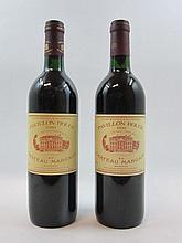 2 bouteilles 1 bt :  PAVILLON ROUGE DU CH MARGAUX 1990 Margaux