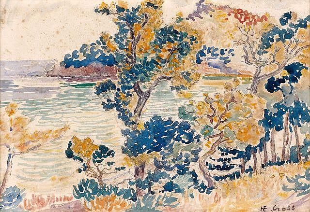 Henri Edmond CROSS (Douai, 1856- Lavandou, 1910) LE CAP NEGRE, circa 1906 Aquarelle et mine de plomb sur papier