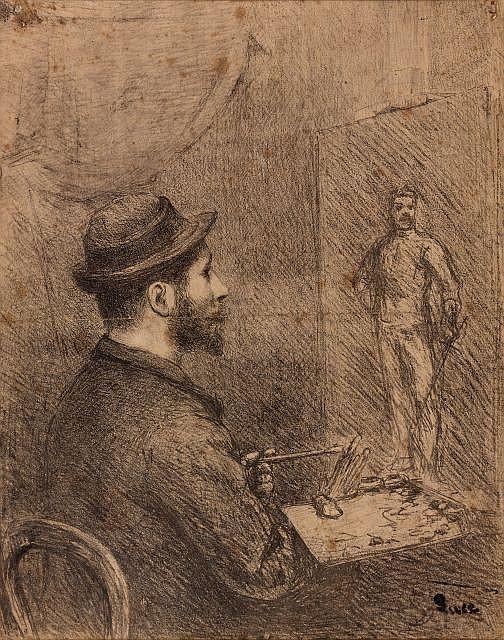 Maximilien LUCE (Paris, 1858 - Paris, 1941) PORTRAIT DE SEURAT Dessin au crayon sur papier