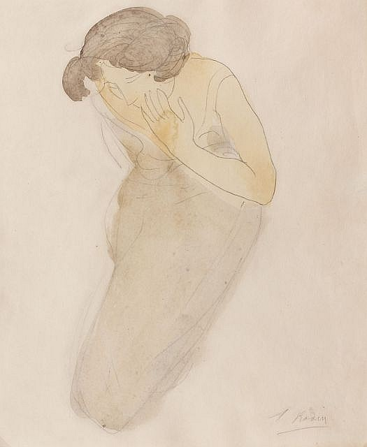 Auguste RODIN (Paris, 1840 - Meudon, 1917) PSYCHE. FEMME AGENOUILLEE, PORTANT LA MAIN SUR SA JOUE, circa 1900 Dessin à la mine de pl...