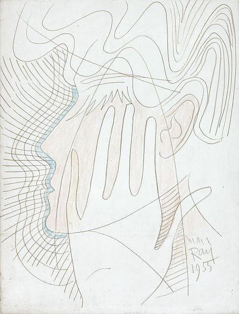 MAN RAY (Philadelphie, 1890- Paris, 1976) VISAGE ET MAIN, 1955 Dessin au crayon de couleur sur papier