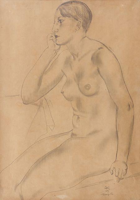 Léonard Tsuguharu FOUJITA (Tokyo, 1886- Zurich, 1968) LE MODELE OU FEMME ASSISE, circa 1926 Dessin au crayon sur papier