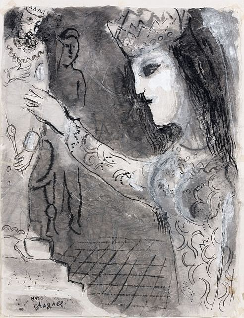 Marc CHAGALL (Vitebsk, 1887 - 1985) ASSUERUS INVITE PAR ESTHER (ILLUSTRATION POUR DESSINS POUR LA BIBLE ED. VERVE), 1958-1959 Lavis...