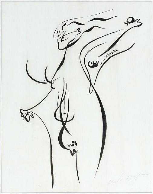 André MASSON (Balagny-sur-Thérain,1896- Paris, 1987) JEUNE FILLE JOUANT, 1944 Encre de Chine sur papier marouflé sur toile