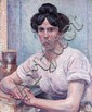 Maximilien LUCE (Paris, 1858 - Paris, 1941) PORTRAIT DE FEMME (PHILIBERTE GIVORT) OU LA BLANCHISSEUSE Huile sur toile