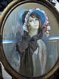 Joseph ROY Femme au chapeau Pastel ovale 80 x 63 cm.