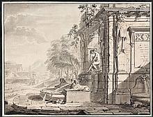 Jean-François Champagne de Colonge Actif en France vers 1700 Fontaine agrémentée de deux sphinx dans un paysage classique Plume et e...