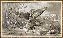 Jean-Baptiste Oudry Paris, 1686 - Beauvais, 1755 Buse attaquant un lièvre Plume et encre noire, lavis gris et rehauts de blanc