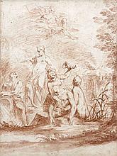 Vittorio Maria Bigari Bologne, 1692 - 1776 Dieux fleuves et nymphes dans un paysage Sanguine et lavis de sanguine