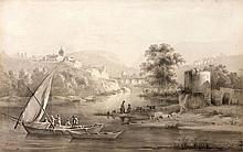 ¤ Jean-Jacques de Boissieu Lyon, 1736 - 1810 Paysage de rivière des environs de Lyon animé de barques et personnages Plume et encre no.