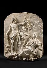 Nicolas Coustou Lyon, 1658 - Paris, 1733 Le dieu de la Santé montre à la France le buste de Louis XIV Bas-relief en plâtre