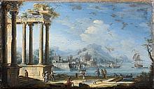 Gennaro Greco Naples, 1663 - 1714 Temples antiques sur un littoral méditerranéen animé de personnages Paire d'huiles sur toiles