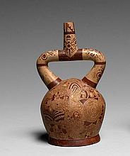 VASE FUNÉRAIRE PEINT D'UNE SCÈNE MYTHOLOGIQUE Culture Mochica, Nord du Pérou Intermédiaire ancien, Phase V-VI, vers 700 après J.-C....