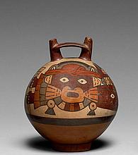 GRAND RÉCIPIENT GLOBULAIRE À DÉCOR PEINT Culture Nazca, Sud du Pérou Intermédiaire ancien 300-600 après J.-C. Céramique brune à engo...