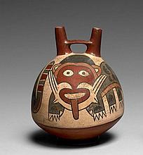 RÉCIPIENT FUNÉRAIRE À DÉCOR POLYCHROME Culture Nazca, Sud du Pérou Intermédiaire ancien 300-600 après J.-C. Céramique brune à engobe...