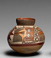 PETIT RÉCIPIENT À DÉCOR POLYCHROME Culture Nazca, Sud du Pérou Intermédiaire ancien 300-600 après J.-C. Céramique brun clair à engob...