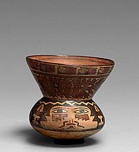 BOL DÉCORÉ D'UN VISAGE Culture Nazca, Sud du Pérou Intermédiaire ancien 300-600 après J.-C. Céramique à engobe blanc crème et à déco..