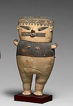 CUCHIMILCO Culture Chancay, Côte centrale du Pérou 1000-1400 après J.-C. Céramique à engobe blanc crème et brun foncé à surface légè...