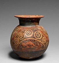 IMPORTANT RÉCIPIENT GLOBULAIRE À DÉCOR PEINT Culture Nariño, Colombie, frontière Colombie-Équateur 1200-1500 après J.-C. Céramique b...