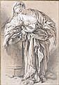 François Boucher Paris, 1703 - 1770 Etude de femme drapée appuyée sur un piédestal Crayon noir, estompe et rehauts de craie blanche...
