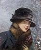 Henri Gervex Paris, 1852 - 1929 Jeune femme au bouquet de violettes sous la neige (Colette Gervex) Huile sur panneau