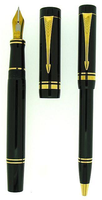 PARKER Parure plume + bille Duofold Centenial, résine noire, attributs plaqués or, plume or 18 carats extra fine, bille à mécanism.....