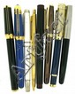 DIVERS Lot de 8 stylos : Dupont Montparnasse, Cartier Pasha, Parker, Waterman, Sheaffer, etc.. En l'état.